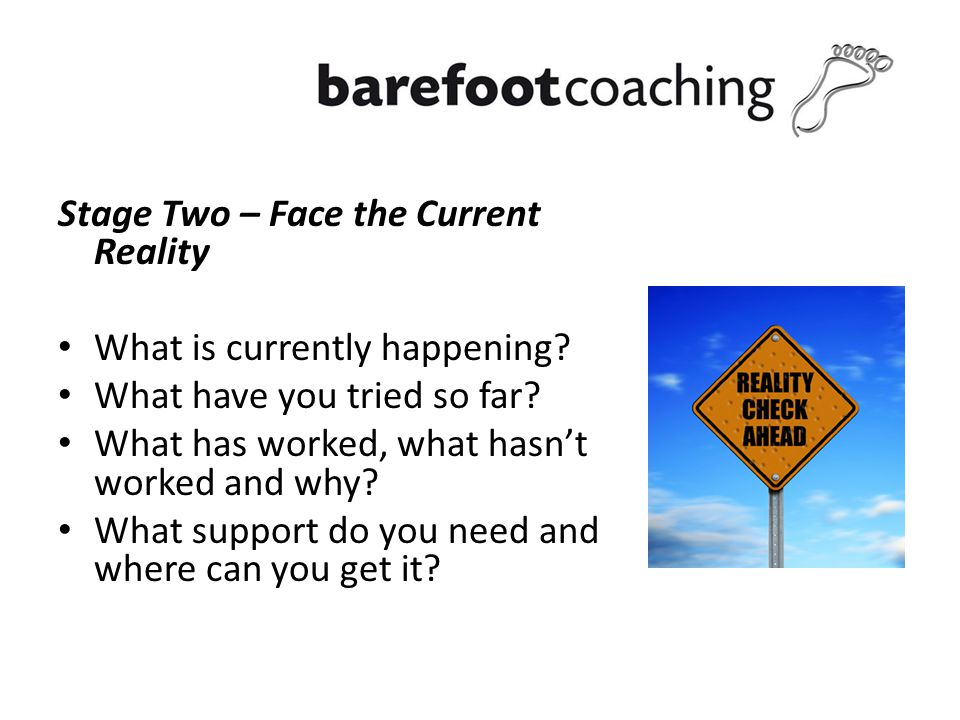 Stage Two – Face the Current Reality What is currently happening.