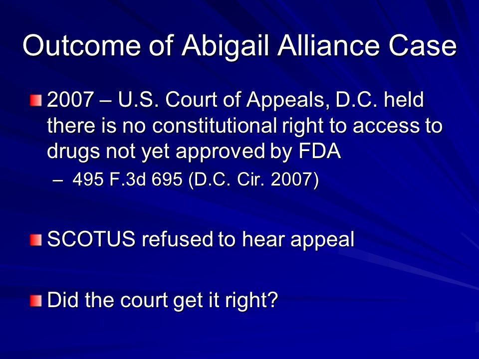 Outcome of Abigail Alliance Case 2007 – U.S. Court of Appeals, D.C.