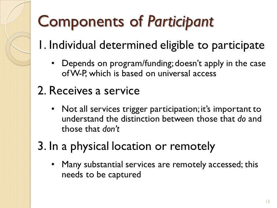 Components of Participant 1.Individual determined eligible to participate Depends on program/funding; doesn't apply in the case of W-P, which is based