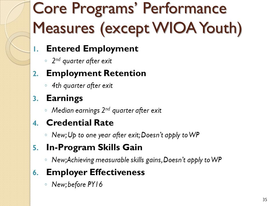 Core Programs' Performance Measures (except WIOA Youth) 1. Entered Employment ◦ 2 nd quarter after exit 2. Employment Retention ◦ 4th quarter after ex