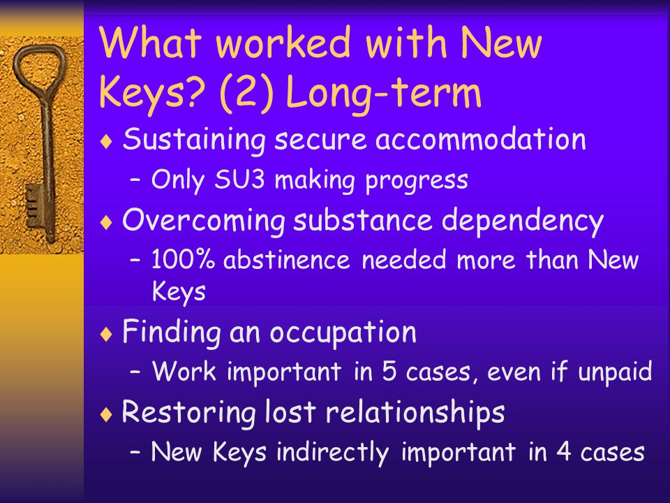 What worked with New Keys.
