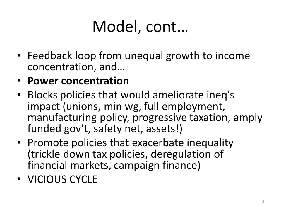 Model, cont… Feedback loop from unequal growth to income concentration, and… Power concentration Blocks policies that would ameliorate ineq's impact (unions, min wg, full employment, manufacturing policy, progressive taxation, amply funded gov't, safety net, assets!) Promote policies that exacerbate inequality (trickle down tax policies, deregulation of financial markets, campaign finance) VICIOUS CYCLE 3