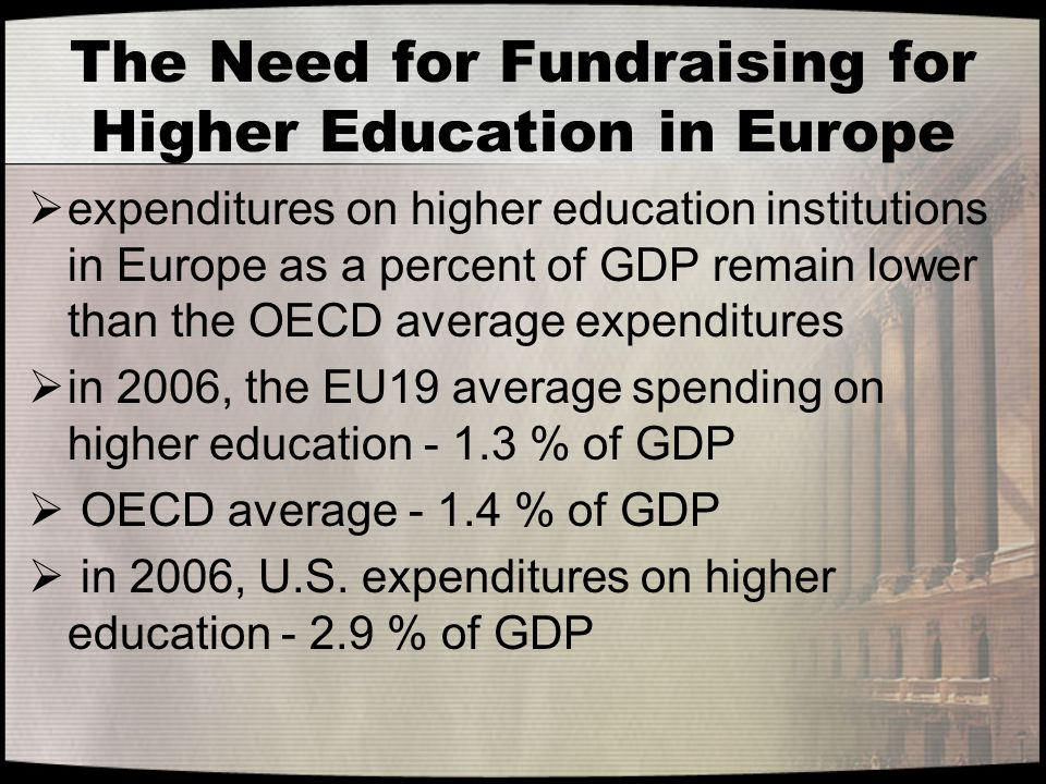 The Need for Fundraising for Higher Education in Europe  expenditures on higher education institutions in Europe as a percent of GDP remain lower tha
