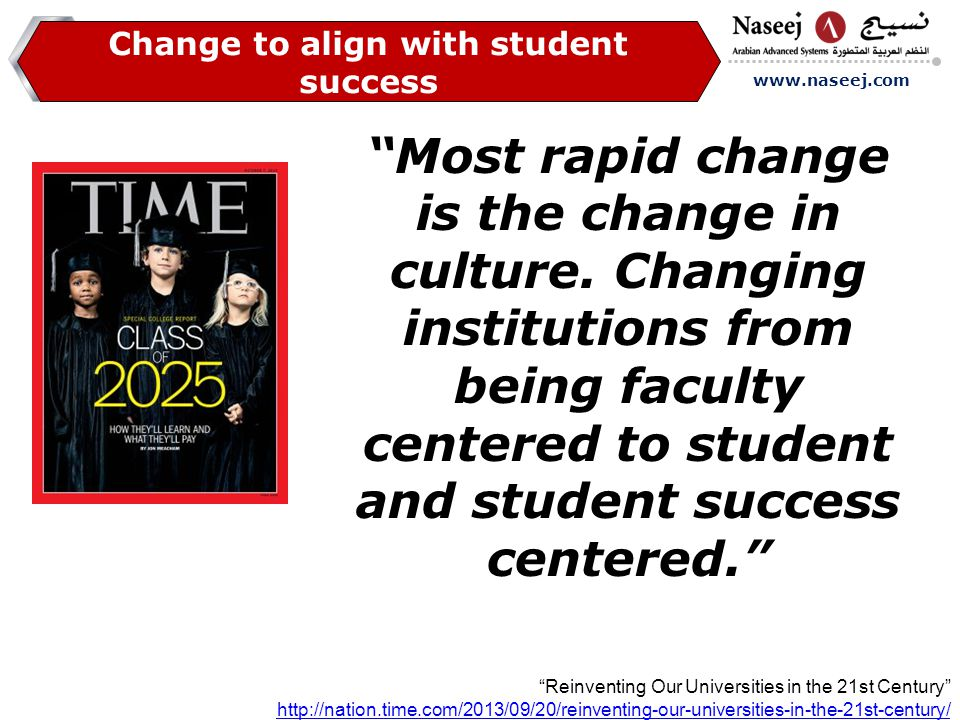 www.naseej.com Change to align with student success Most rapid change is the change in culture.