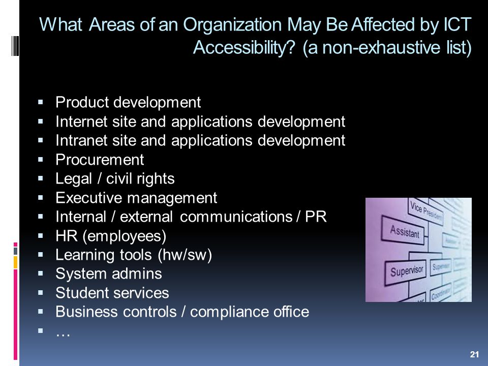 21 What Areas of an Organization May Be Affected by ICT Accessibility.