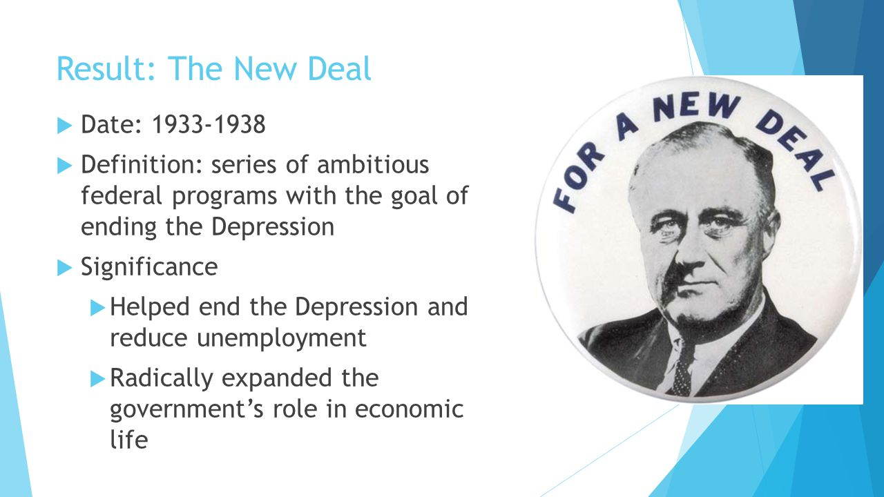 Result: The New Deal  Date: 1933-1938  Definition: series of ambitious federal programs with the goal of ending the Depression  Significance  Help
