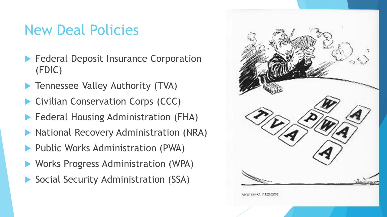 New Deal Policies  Federal Deposit Insurance Corporation (FDIC)  Tennessee Valley Authority (TVA)  Civilian Conservation Corps (CCC)  Federal Hous
