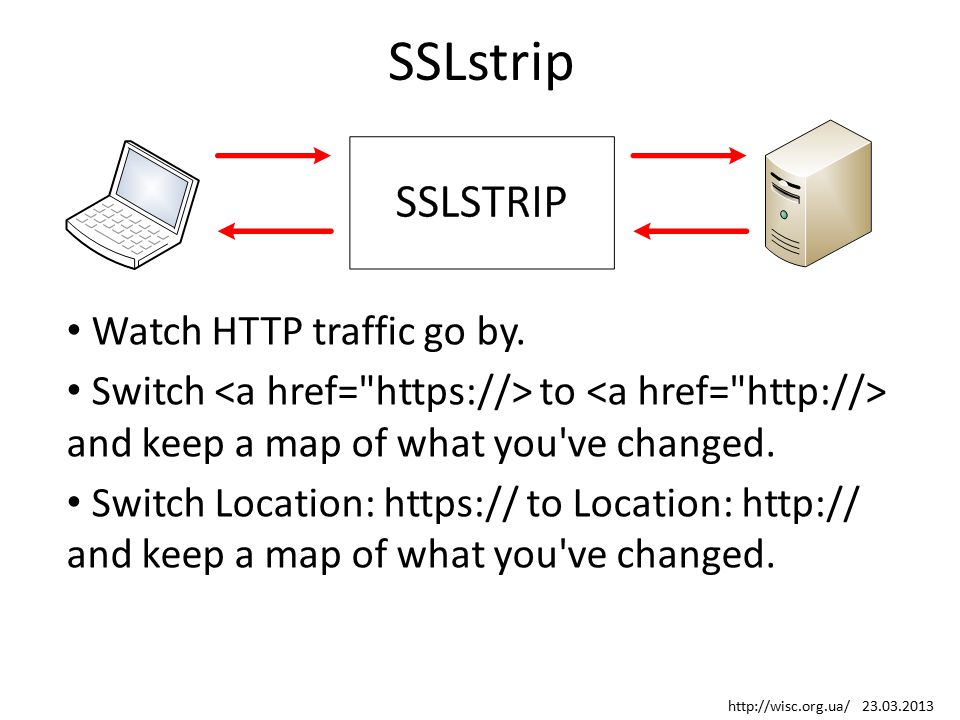 SSLstrip Watch HTTP traffic go by. Switch to and keep a map of what you've changed. Switch Location: https:// to Location: http:// and keep a map of w