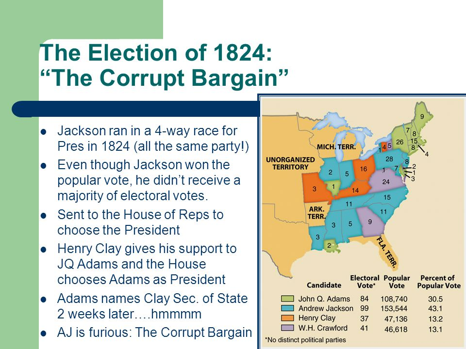 The Election of 1824: The Corrupt Bargain Jackson ran in a 4-way race for Pres in 1824 (all the same party!) Even though Jackson won the popular vote, he didn't receive a majority of electoral votes.