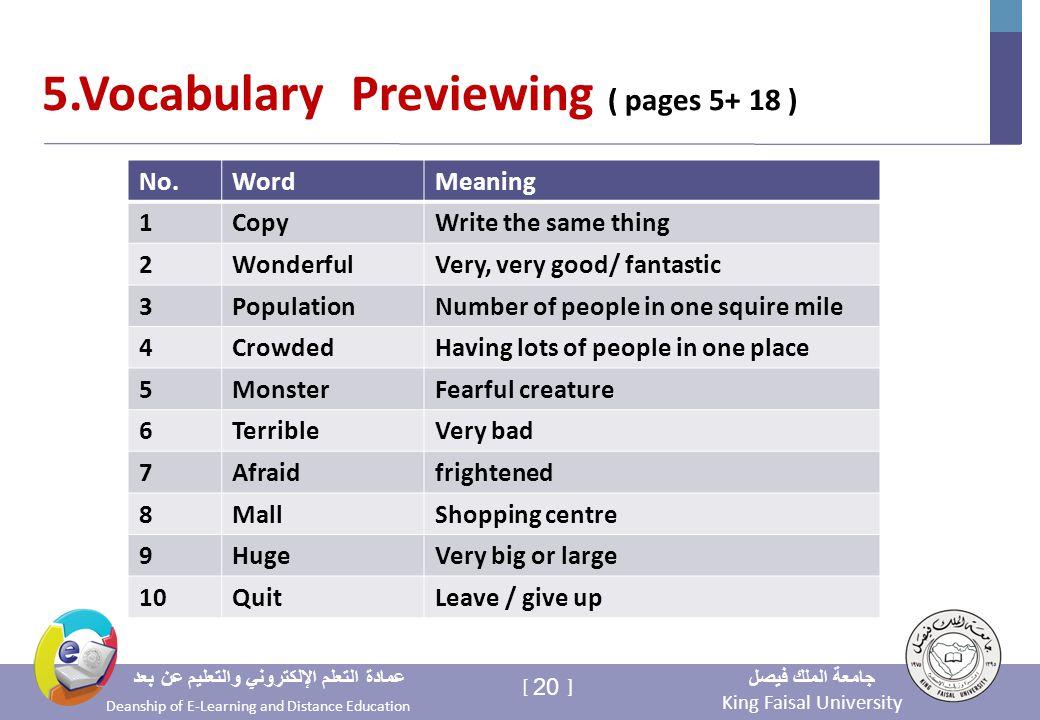 King Faisal University جامعة الملك فيصل Deanship of E-Learning and Distance Education عمادة التعلم الإلكتروني والتعليم عن بعد 20 [ ] 5.Vocabulary Previewing ( pages 5+ 18 ) MeaningWordNo.