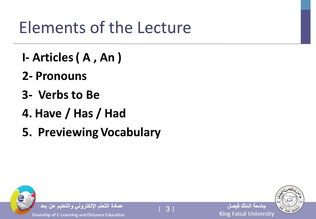 King Faisal University جامعة الملك فيصل Deanship of E-Learning and Distance Education عمادة التعلم الإلكتروني والتعليم عن بعد 3 [ ] Elements of the Lecture I- Articles ( A, An ) 2- Pronouns 3- Verbs to Be 4.