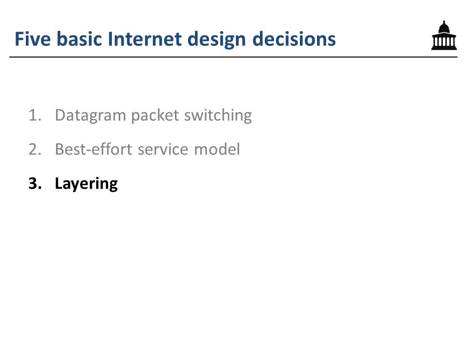 Five basic Internet design decisions 1.Datagram packet switching 2.Best-effort service model 3.Layering 4.A single internetworking protocol 5.The end-to-end principle (and fate-sharing)