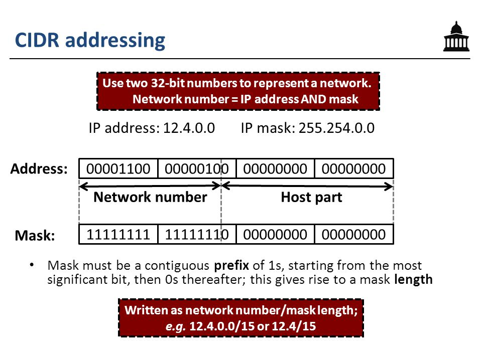 CIDR addressing Mask must be a contiguous prefix of 1s, starting from the most significant bit, then 0s thereafter; this gives rise to a mask length IP address: 12.4.0.0 IP mask: 255.254.0.0 Address: Mask: Use two 32-bit numbers to represent a network.