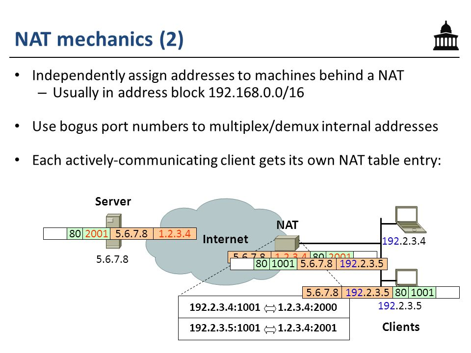 NAT mechanics (2) 192.2.3.4 192.2.3.5 5.6.7.8 Clients Server Internet NAT 1.2.3.4 192.2.3.4:1001 1.2.3.4:2000 5.6.7.81.2.3.48020011.2.3.45.6.7.88020015.6.7.8192.2.3.5801001 192.2.3.5:1001 1.2.3.4:2001 5.6.7.8192.2.3.5801001 Independently assign addresses to machines behind a NAT – Usually in address block 192.168.0.0/16 Use bogus port numbers to multiplex/demux internal addresses Each actively-communicating client gets its own NAT table entry: