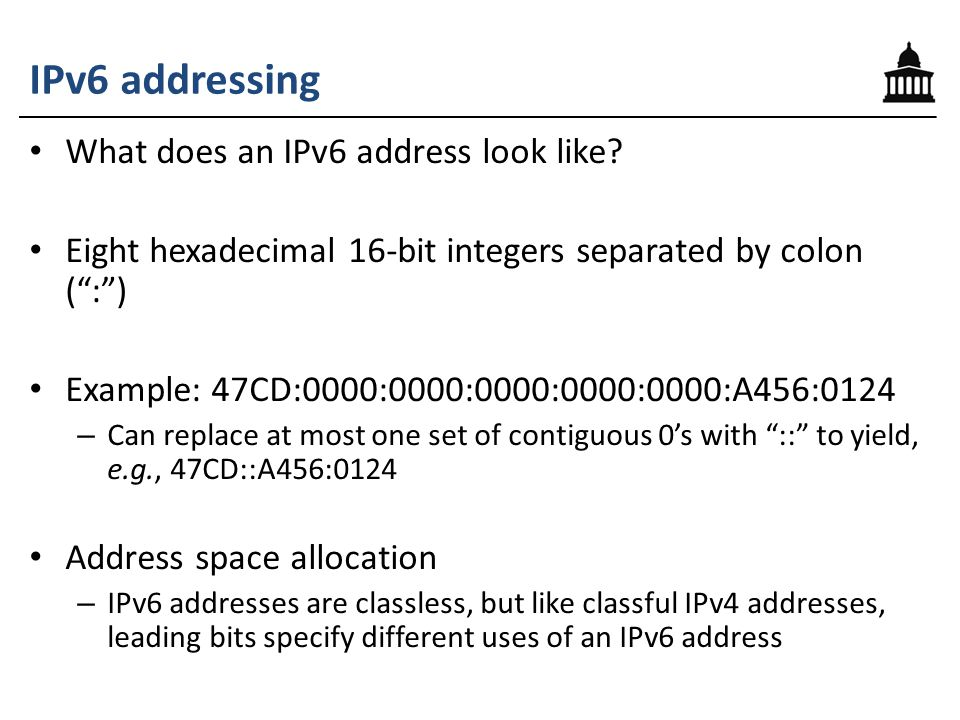 IPv6 addressing What does an IPv6 address look like.