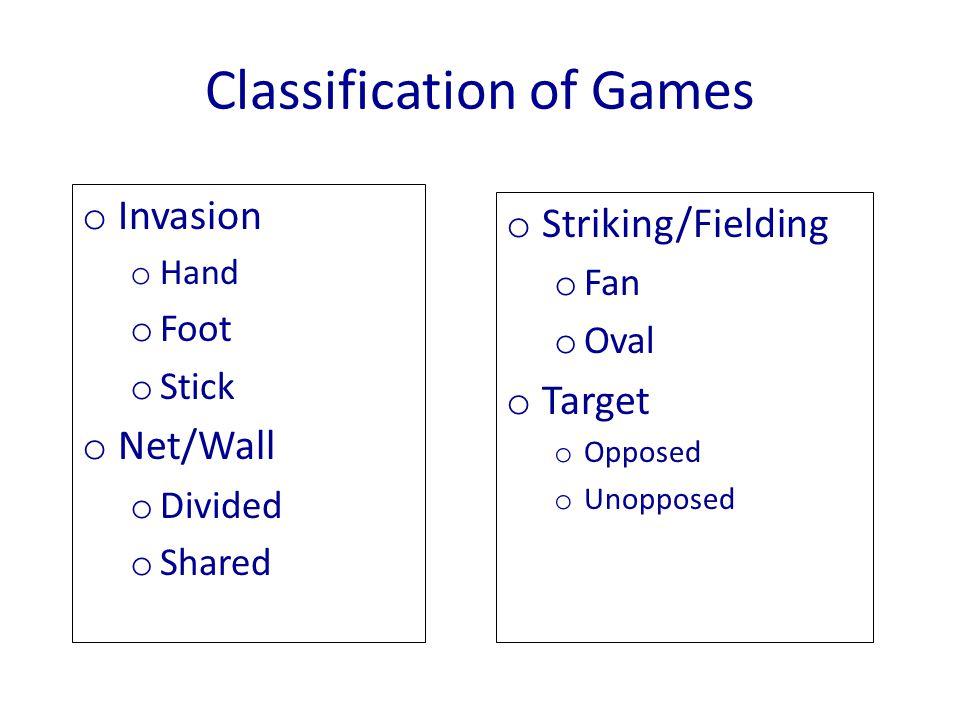 Classification of Games o Invasion o Hand o Foot o Stick o Net/Wall o Divided o Shared o Striking/Fielding o Fan o Oval o Target o Opposed o Unopposed