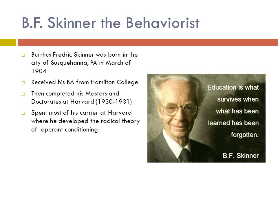 Skinner's Famous Theory  Behaviorism – is a change in behavior brought on by experience that could be measured.