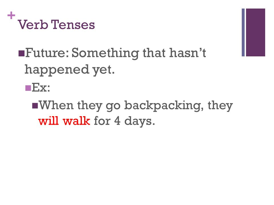 + Verb Tenses Future: Something that hasn't happened yet.