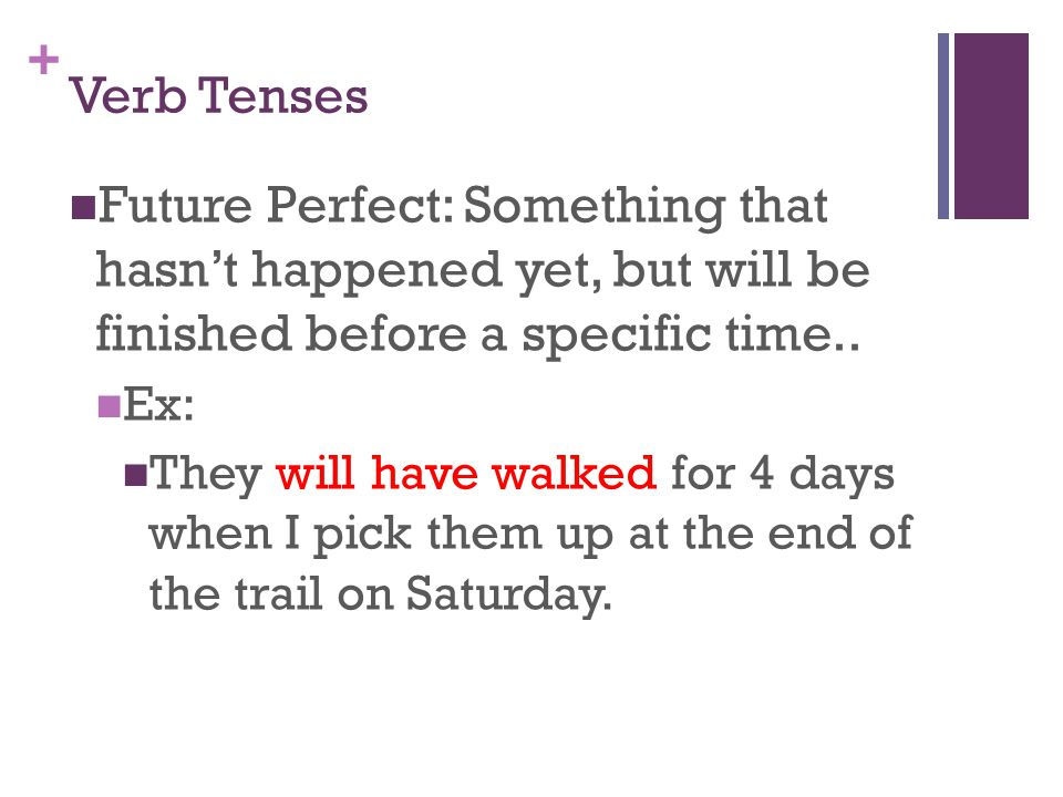 + Verb Tenses Future Perfect: Something that hasn't happened yet, but will be finished before a specific time..