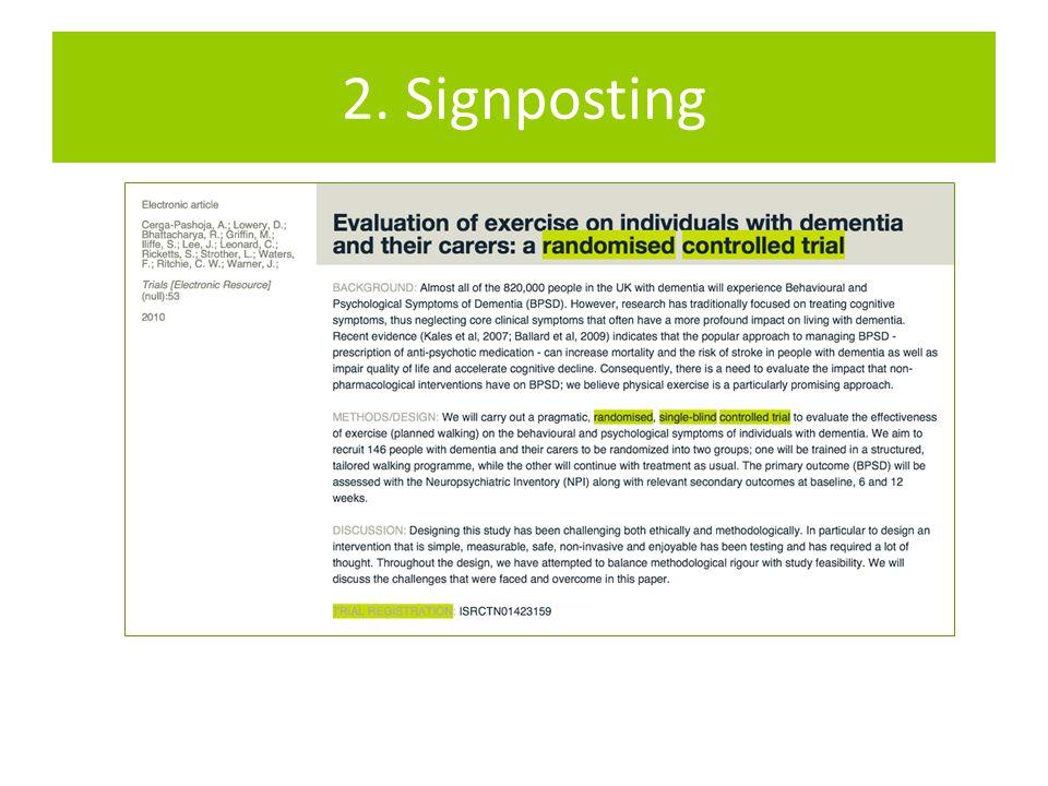 2. Signposting