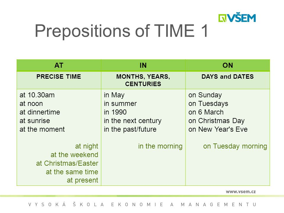 Prepositions of TIME 1 ATINON PRECISE TIMEMONTHS, YEARS, CENTURIES DAYS and DATES at 10.30am at noon at dinnertime at sunrise at the moment at night at the weekend at Christmas/Easter at the same time at present in May in summer in 1990 in the next century in the past/future in the morning on Sunday on Tuesdays on 6 March on Christmas Day on New Year s Eve on Tuesday morning