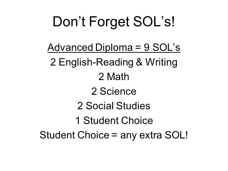 Don't Forget SOL's.