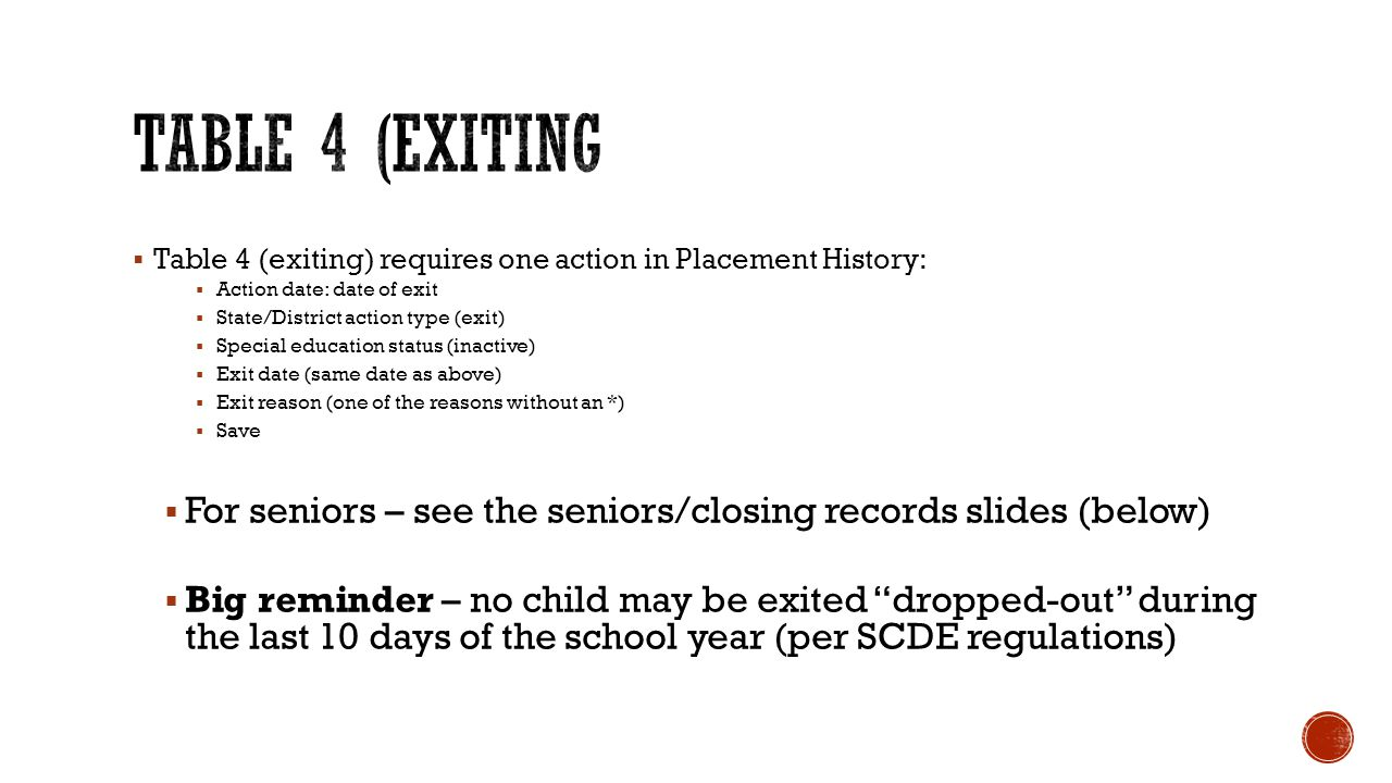  Table 4 (exiting) requires one action in Placement History:  Action date: date of exit  State/District action type (exit)  Special education status (inactive)  Exit date (same date as above)  Exit reason (one of the reasons without an *)  Save  For seniors – see the seniors/closing records slides (below)  Big reminder – no child may be exited dropped-out during the last 10 days of the school year (per SCDE regulations)