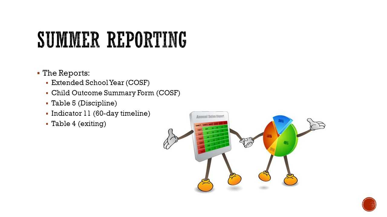  The Reports:  Extended School Year (COSF)  Child Outcome Summary Form (COSF)  Table 5 (Discipline)  Indicator 11 (60-day timeline)  Table 4 (exiting)