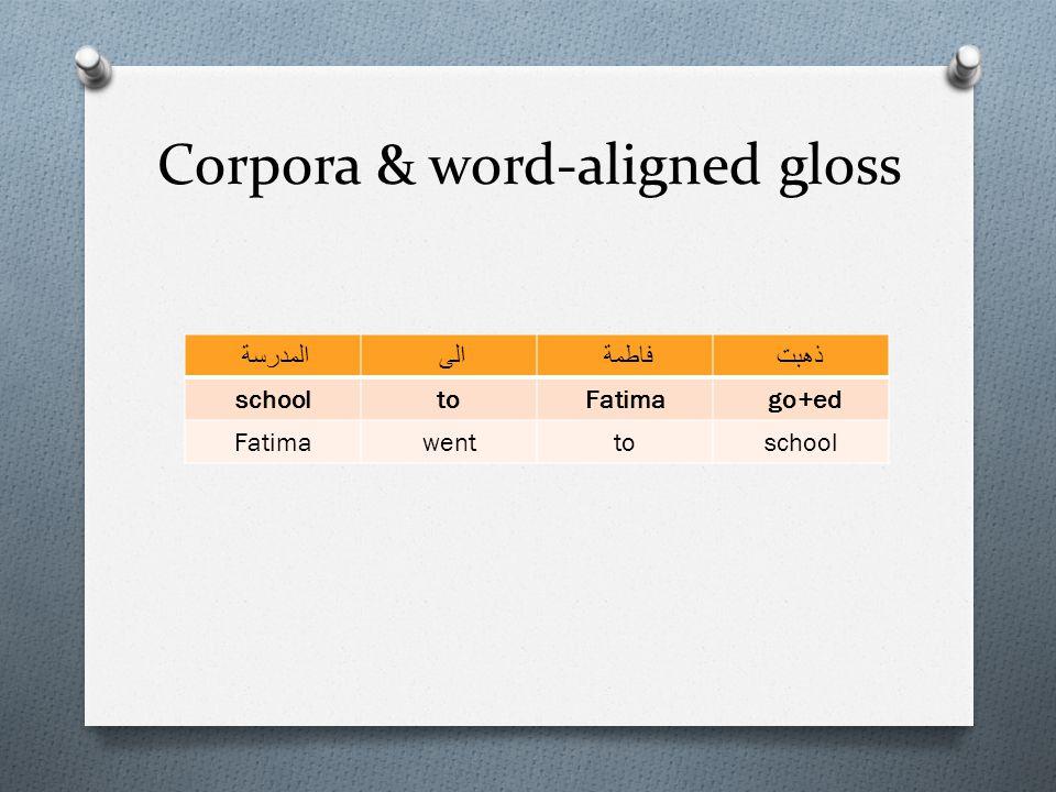 Corpora & word-aligned gloss المدرسةالىفاطمةذهبت schooltoFatima go+ed Fatimawenttoschool