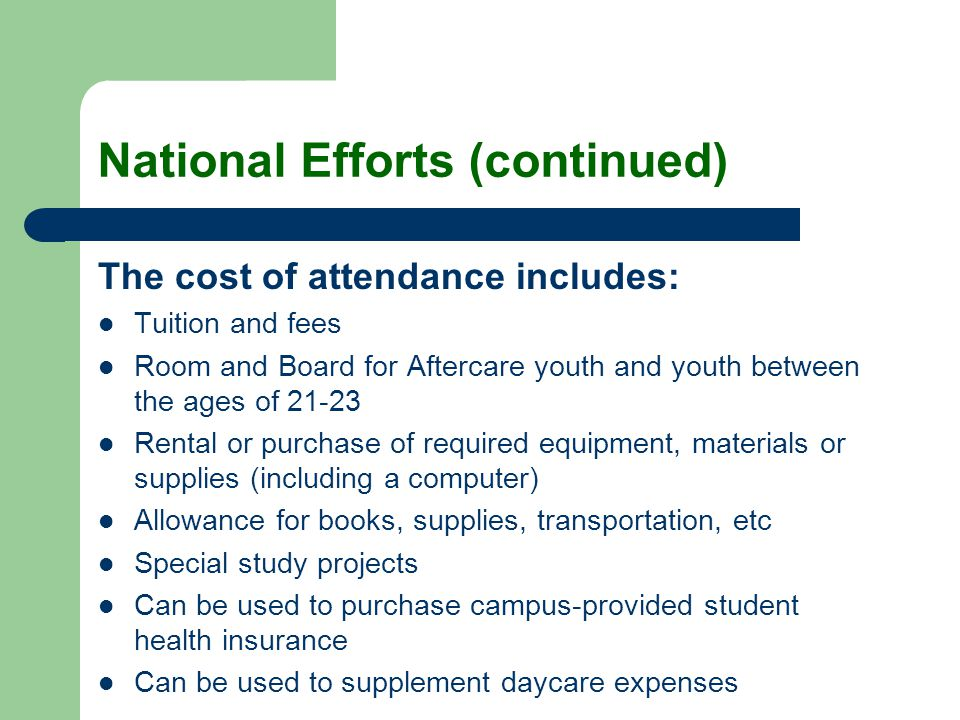 National Efforts (continued) The cost of attendance includes: Tuition and fees Room and Board for Aftercare youth and youth between the ages of 21-23