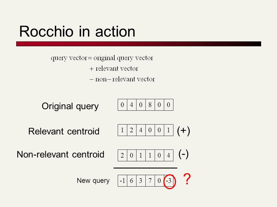 Rocchio in action 040800 124001 201104 6370-3 Original query Relevant centroid Non-relevant centroid (+) (-) New query ?