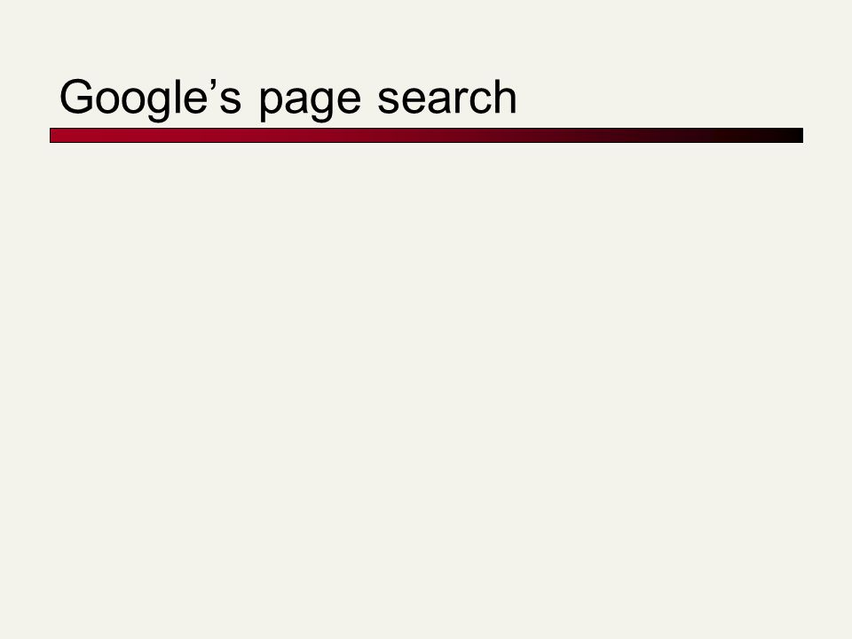 Google's page search