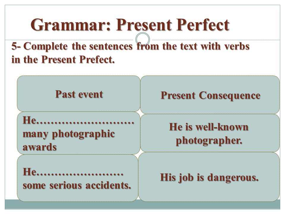 Grammar: Present Perfect 5- Complete the sentences from the text with verbs in the Present Prefect.