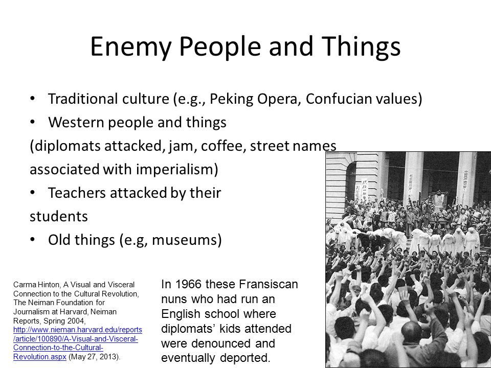 Enemy People and Things Traditional culture (e.g., Peking Opera, Confucian values) Western people and things (diplomats attacked, jam, coffee, street