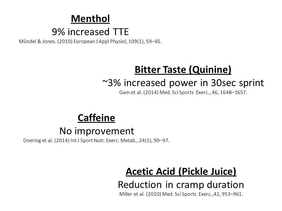 Menthol 9% increased TTE Mündel & Jones. (2010) European J Appl Physiol, 109(1), 59–65.