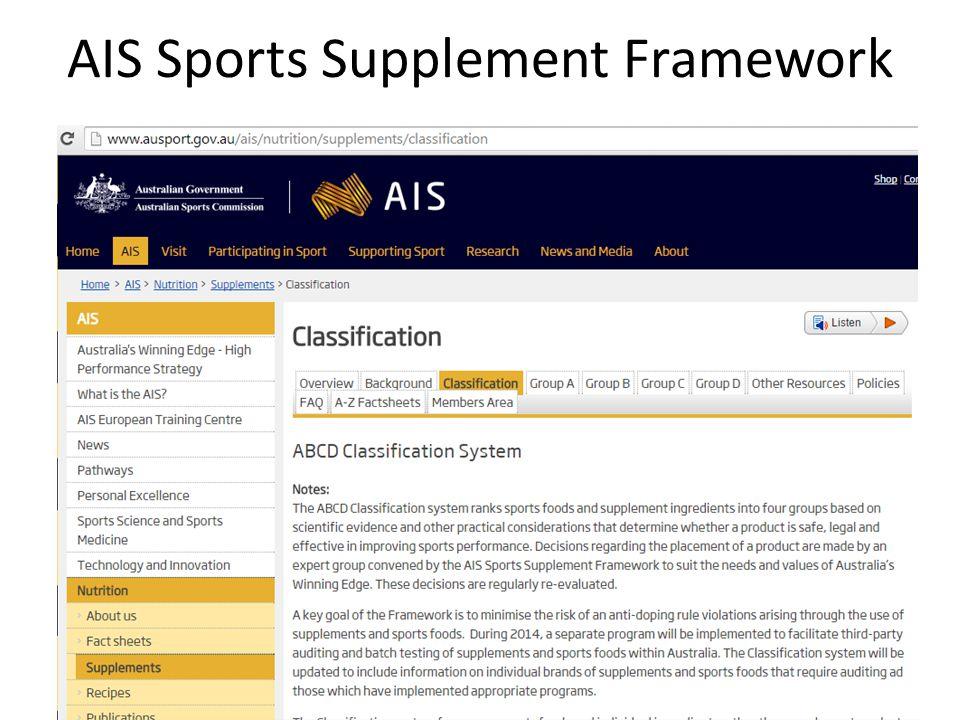 AIS Sports Supplement Framework