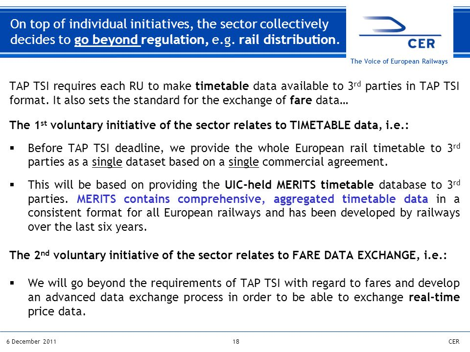 186 December 2011CER The Voice of European Railways On top of individual initiatives, the sector collectively decides to go beyond regulation, e.g.