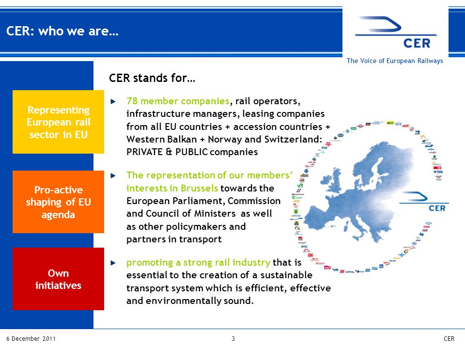 36 December 2011CER The Voice of European Railways Pro-active shaping of EU agenda Own initiatives Representing European rail sector in EU CER: who we