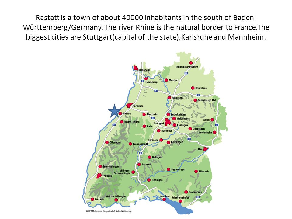 Rastatt is a town of about 40000 inhabitants in the south of Baden- Württemberg/Germany.