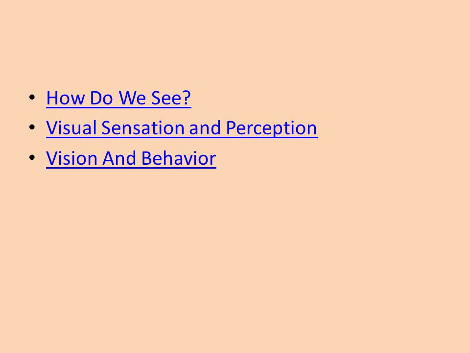 How Do We See Visual Sensation and Perception Vision And Behavior