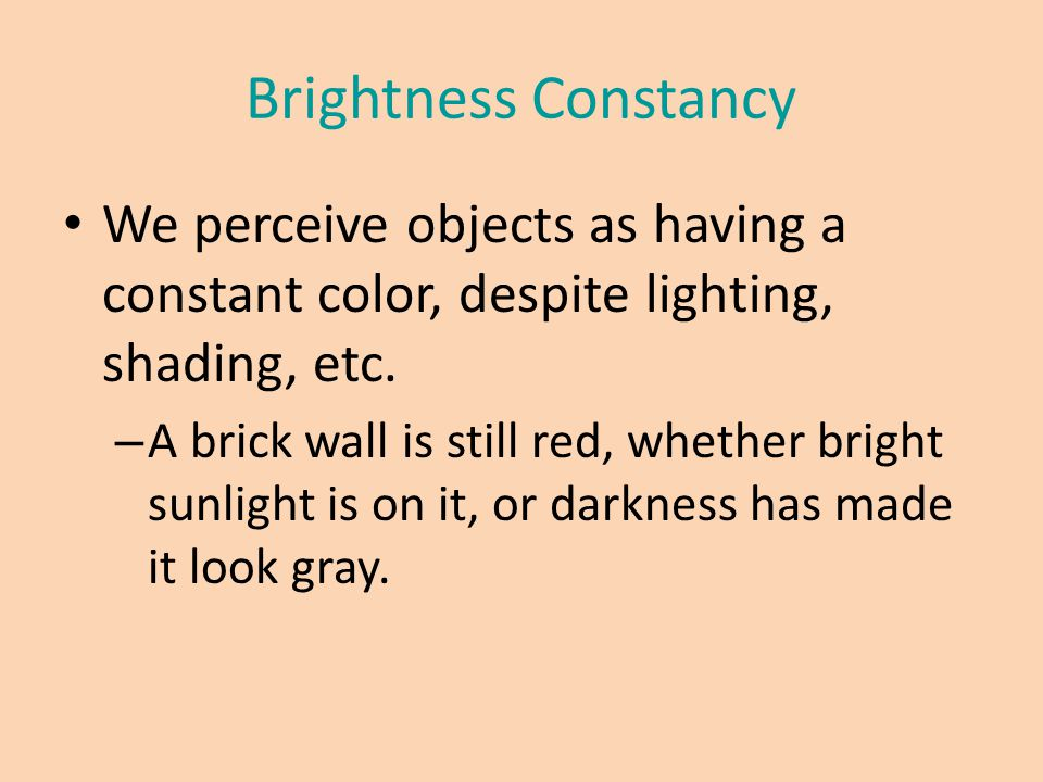 Brightness Constancy We perceive objects as having a constant color, despite lighting, shading, etc. – A brick wall is still red, whether bright sunli