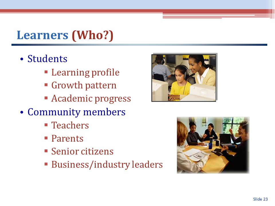 Slide 23 Learners (Who ) Students  Learning profile  Growth pattern  Academic progress Community members  Teachers  Parents  Senior citizens  Business/industry leaders