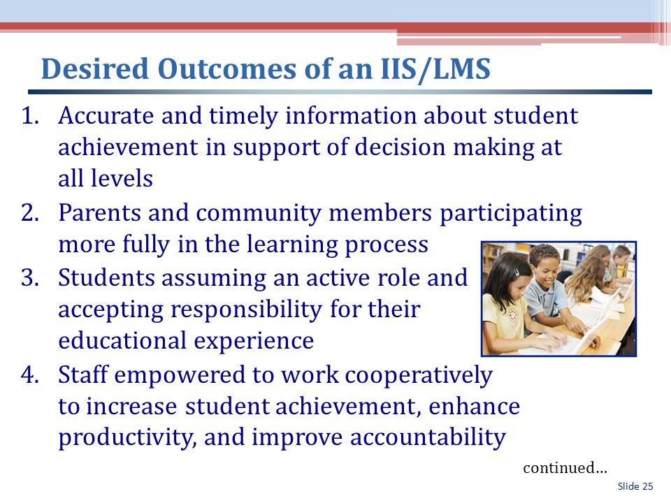 Slide 25 Desired Outcomes of an IIS/LMS 1.Accurate and timely information about student achievement in support of decision making at all levels 2.Parents and community members participating more fully in the learning process 3.Students assuming an active role and accepting responsibility for their educational experience 4.Staff empowered to work cooperatively to increase student achievement, enhance productivity, and improve accountability continued…
