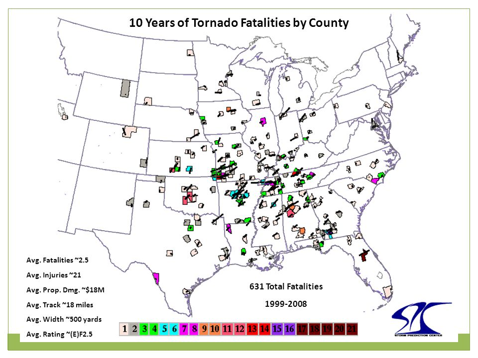 10 Years of Tornado Fatalities by County 631 Total Fatalities 1999-2008 Avg.