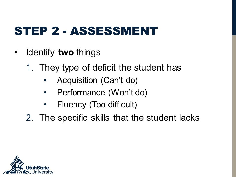 STEP 2 - ASSESSMENT Identify two things 1.They type of deficit the student has Acquisition (Can't do) Performance (Won't do) Fluency (Too difficult) 2.The specific skills that the student lacks