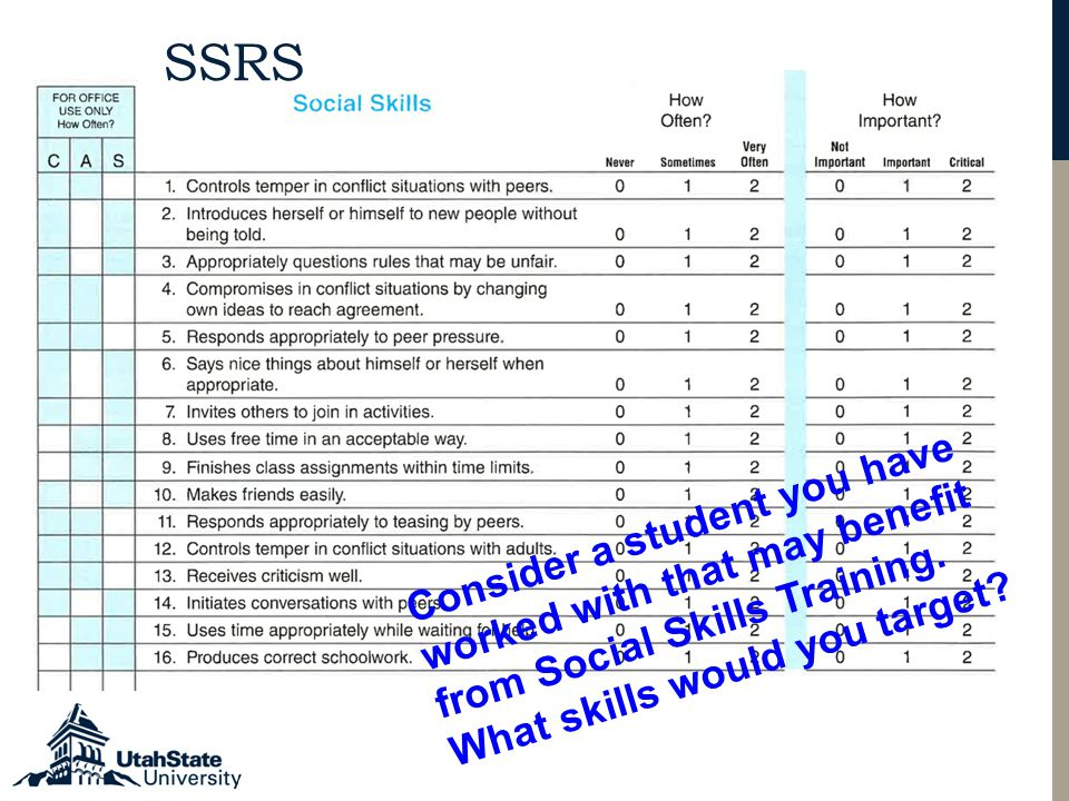 SSRS Consider a student you have worked with that may benefit from Social Skills Training.
