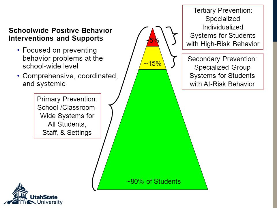 Primary Prevention: School-/Classroom- Wide Systems for All Students, Staff, & Settings Secondary Prevention: Specialized Group Systems for Students with At-Risk Behavior Tertiary Prevention: Specialized Individualized Systems for Students with High-Risk Behavior ~80% of Students ~15% ~5% Schoolwide Positive Behavior Interventions and Supports Focused on preventing behavior problems at the school-wide level Comprehensive, coordinated, and systemic
