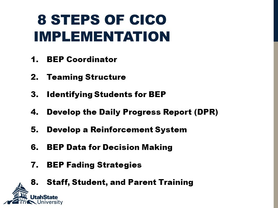 8 STEPS OF CICO IMPLEMENTATION 1.BEP Coordinator 2.Teaming Structure 3.Identifying Students for BEP 4.Develop the Daily Progress Report (DPR) 5.Develop a Reinforcement System 6.BEP Data for Decision Making 7.BEP Fading Strategies 8.Staff, Student, and Parent Training