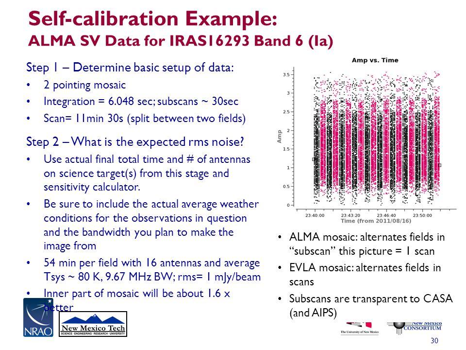Self-calibration Example: ALMA SV Data for IRAS16293 Band 6 (Ia) 30 Step 1 – Determine basic setup of data: 2 pointing mosaic Integration = 6.048 sec;