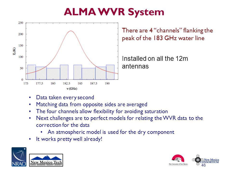 ALMA WVR System 46 Data taken every second Matching data from opposite sides are averaged The four channels allow flexibility for avoiding saturation